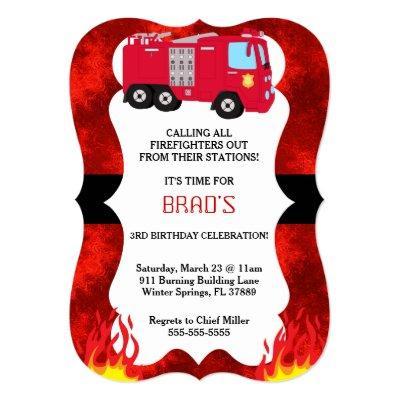 Cute Fire Truck Firefighter Birthday Invitations