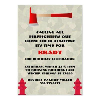 Cute Firefighter Birthday Party Invitations