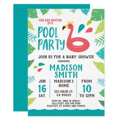 Pool party baby shower invitations baby shower invitations cute flamingo tropical pool party filmwisefo