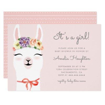 Cute Flower Crown & Llama Girl Baby Shower Invitation