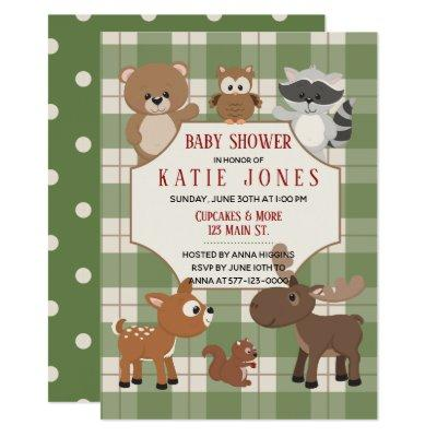 Cute Forest Animals Green Plaid Baby Shower Invite