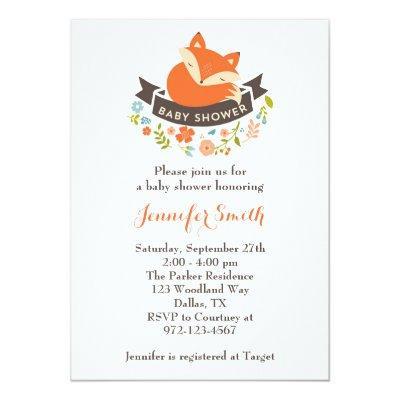 Cute Fox Invitations