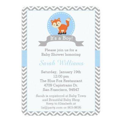 Cute Fox Invitations in Blue and Gray