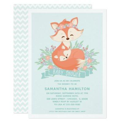 Cute Fox Woodland Boy Baby Shower Invitation