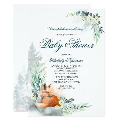 Cute Fox Woodland Spring Baby Shower Invitation