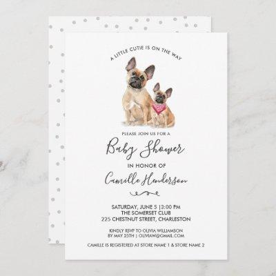 Cute French Bull Dog Puppy Themed Baby Shower Invitation