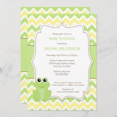 Cute Frog baby shower invitation, neutral gender Invitation