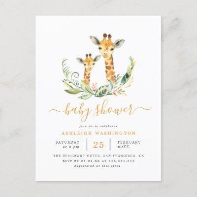 Cute Gender Neutral Giraffe Themed Baby Shower Invitation Postcard