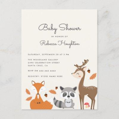 Cute Gender Neutral Woodland Animals Baby Shower Invitation Postcard