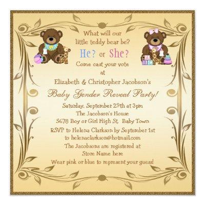 Cute Gender Reveal Teddy Bears Invitation