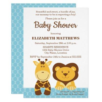 Cute Giraffe and Lion Baby Shower Invitation