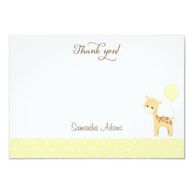 Cute Giraffe Baby Shower Thank You Invitations