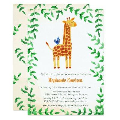 Cute Giraffe & Bird Baby Shower Invitations
