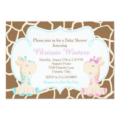 Cute Giraffe Gender Reveal or Twins Invitations