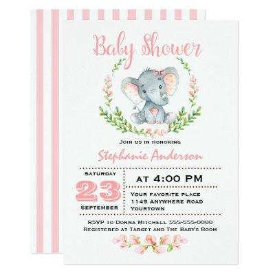 Cute Girl Elephant Invitations