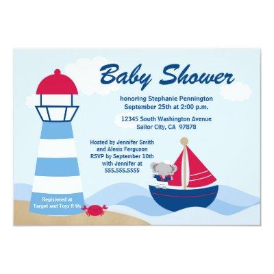 Cute girl elephant sailor baby shower invitation
