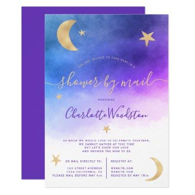 Cute gold moon stars purple baby shower by mail invitation