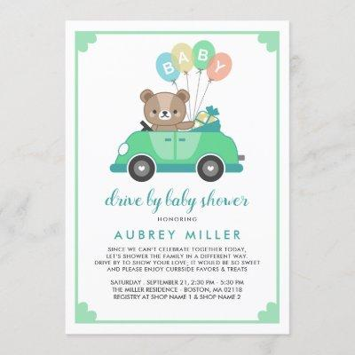 Cute Green Teddy Bear Drive By Baby Shower Invitation