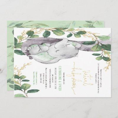 Cute Greenery Elephant Virtual Baby Shower By Mail Invitation