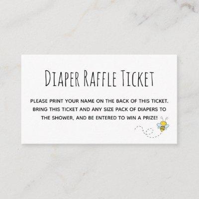 Cute Honey Bee Baby Shower Diaper Raffle Ticket Enclosure Card