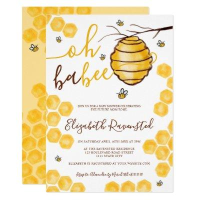 Cute honeycomb beehive watercolor baby shower invitation