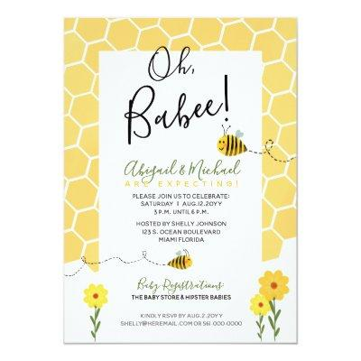 Cute Honeycomb Watercolor Bumble Bee Baby Shower Invitation