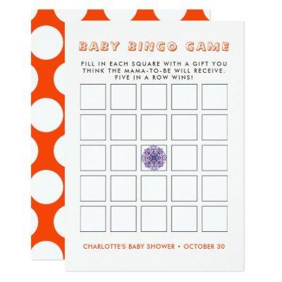 Cute Indian Elephant Rustic Baby Shower Bingo Game Invitation