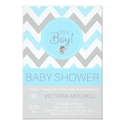 Cute 'It's a Boy' Blue/Grey Chevron Baby Shower Invitations