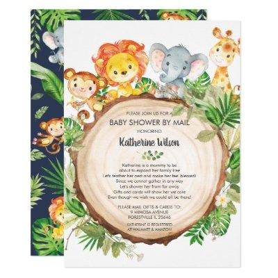 Cute Jungle Animals Baby Shower by Mail Safari Boy Invitation
