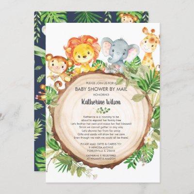 Cute Jungle Animals Baby Shower by Mail Safari Boy Invitation