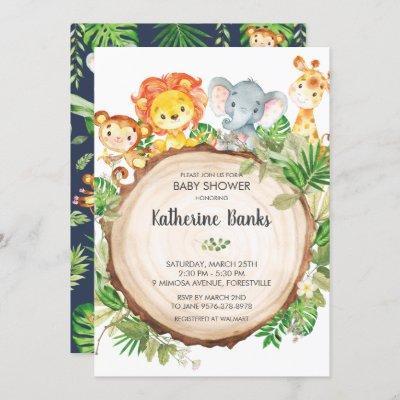 Cute Jungle Animals Baby Shower Greenery Safari Invitation