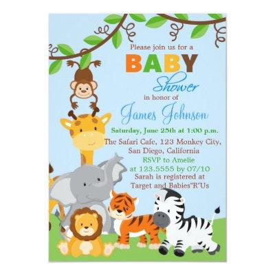 Cute Jungle Animals Boy Baby Shower Invitations