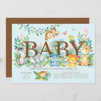 Cute Jungle Animals Boys Baby shower Invitation