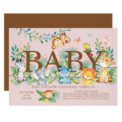Cute Jungle Animals Girls Baby shower Invitation
