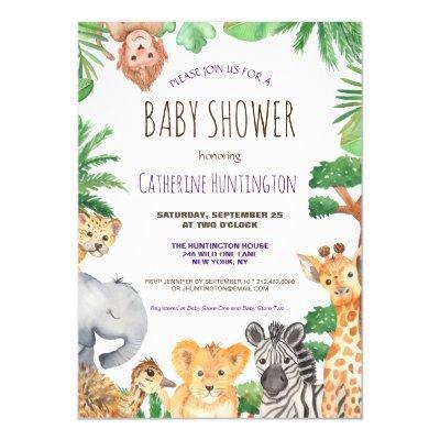 Cute Jungle Safari Animal Baby Shower Invitation