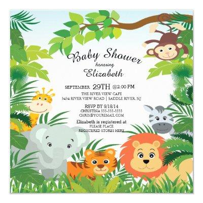 Cute Jungle Safari Invitations