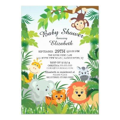 Cute Jungle Safari Baby Shower Invitations