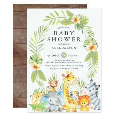 Cute Jungle Safari Boy Baby Shower Invitation