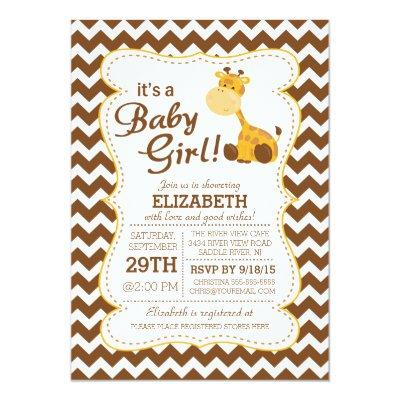 Cute Jungle Safari Giraffe Baby Shower Invitation