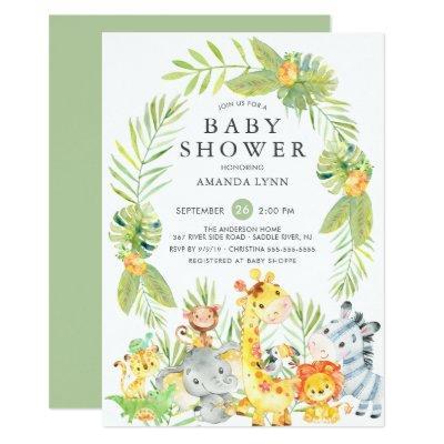 Cute Jungle Safari Neutral Baby Shower Invitation