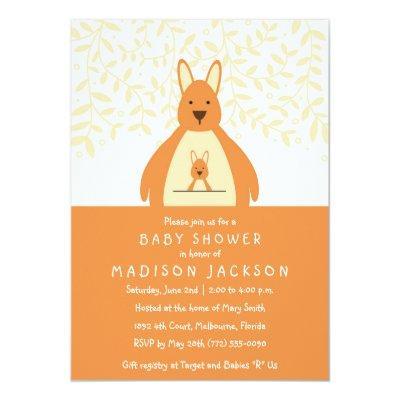 Cute Kangaroo Baby Shower Invitation | Orange