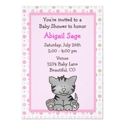 Cute Kitten Baby Girl Shower Invitations