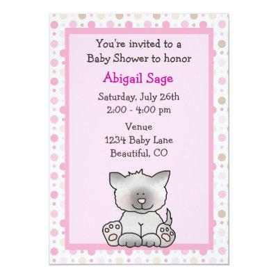 Cute Kitten Baby Girl Shower Invitation