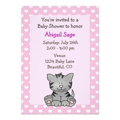 Cute Kitten Baby Girl Shower Invitations