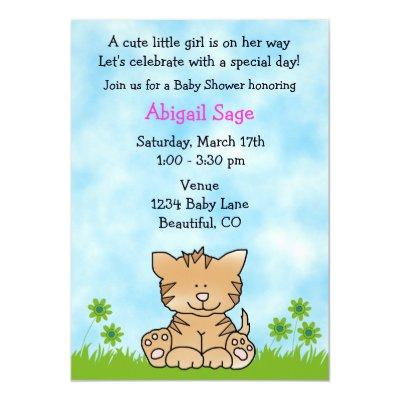 Cute Kitten Baby Shower Invitations