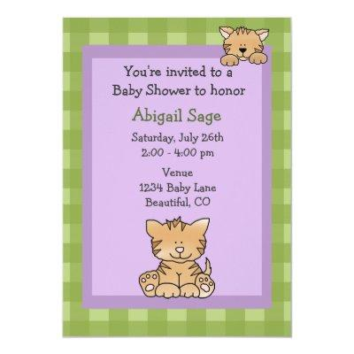 Cute Kitty Cat Baby Girl Shower Invitations