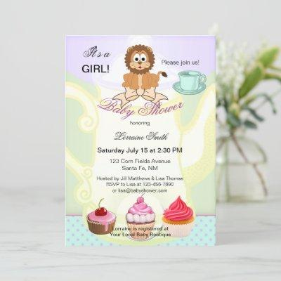Cute Leo or Lion Tea Theme Baby Shower Invitation