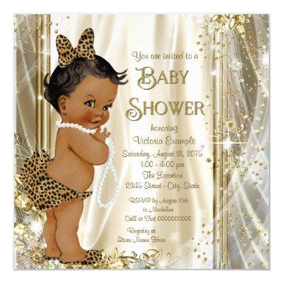 Cute Leopard Girly Ethnic Baby Girl Shower Invitation