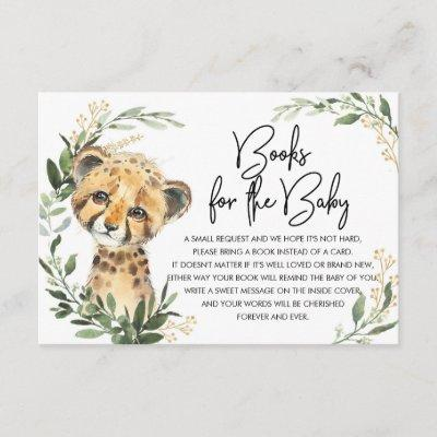 Cute Leopard Greenery Gold Safari Books for Baby Enclosure Card