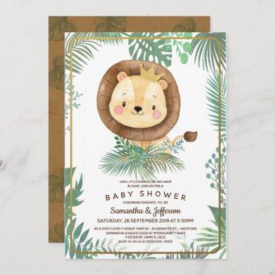 Cute Lion Baby Shower Theme Invitation